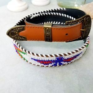 WESTERN WEAR》Native American Beaded Leather Belt